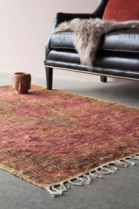 Natural Jute Printed Rug - Red