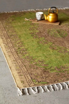 Natural Jute Printed Rug - Green
