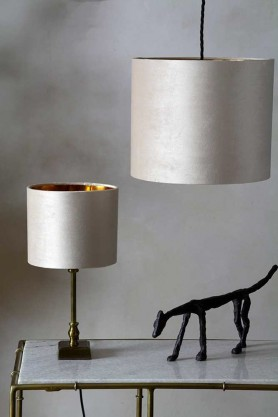 Image of both the sizes available for the Nude Velvet Lamp Shade on a lamp & a ceiling light