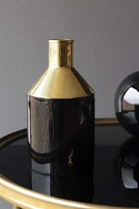 Onyx & Gold Bottle Vase