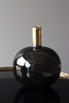 Onyx & Gold Globe Vase
