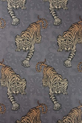 Close-up detail image of the Matthew Williamson Tyger Tyger Wallpaper - Cacao stalking orange tigers front on view on grey background