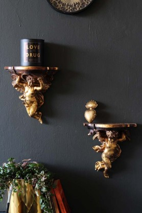Pair Of Cherub Shelves