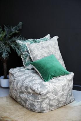 Palm Print Pouffe - Taupe