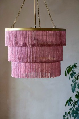 Lifestyle image of the Pink Three-Tier Fringe Chandelier