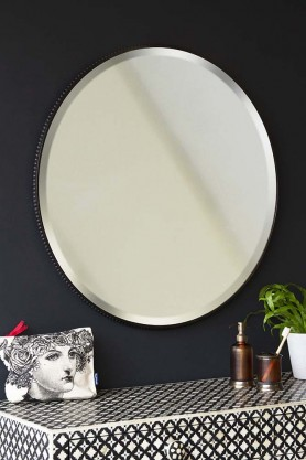 Round Mirror With Metal Bevelled Surround