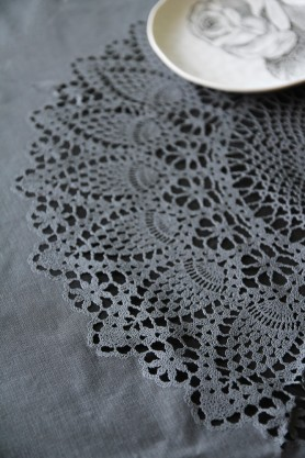 Round Outdoor Crochet Tablecloth - Black