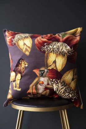 Exotic Jungle Velvet Cushion - Monkey, Lion & Flowers