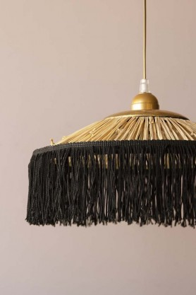 Image of the Small Rafia Fringe Ceiling Light