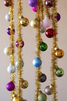 Rainbow Baubles & Tinsel Garland