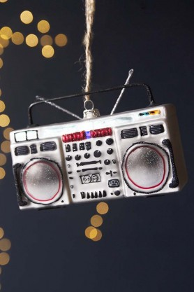 Image of the Retro Boombox Hanging Decoration on a black sparkly background
