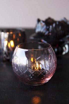Rose Pink Cut Glass Tea Light Holder