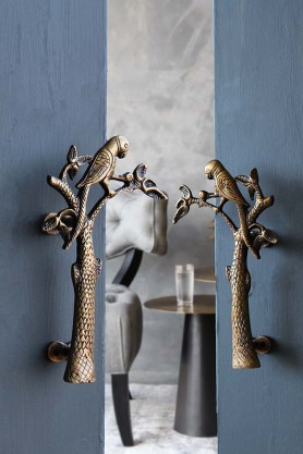 Set Of 2 Beautiful Brass Parrot Door Handles