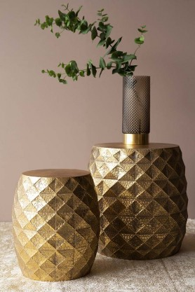 Set Of 2 Gold Geometric Stool / Side Tables