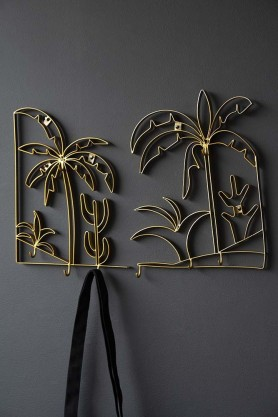 Set Of 2 Gold Palm Tree Wall Art Coat Hooks