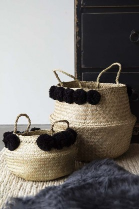 Set Of 2 Straw Baskets With Black Pom Poms