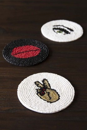 Set Of 3 Beaded Coasters: Eyes, Red Lips & Peace Hand