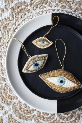 Set Of 3 Beaded Eyes Hanging Decorations