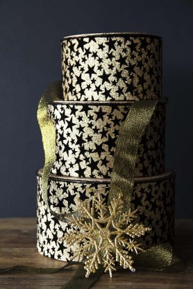 Set Of 3 Gold Glitter & Black Star Gift Boxes