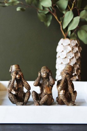 Three Wise Monkey Ornaments - Antique Bronze