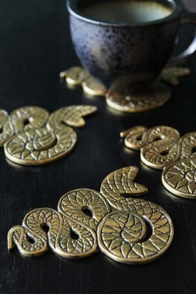 Set Of 4 Antique Gold Snake Coasters