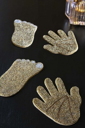 Set Of 4 Hands & Feet Gold Beaded Coasters