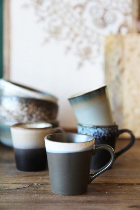 Set Of 4 Earthenware Espresso Mugs - Style 2