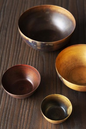 Set Of 4 Rustic Oxidised Metal Bowls