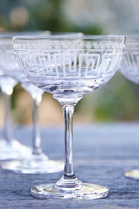 Set Of 6 Vintage Style Crystal Champagne Saucers - Greek Key