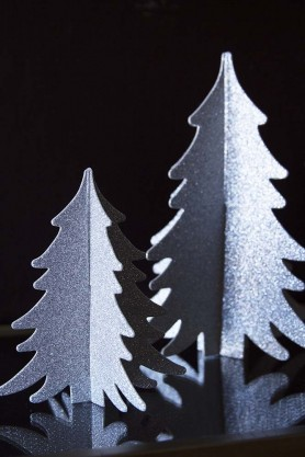 Image of the Set Of 2 Paper Christmas Trees in Silver on a dark background