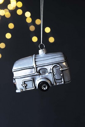 Image of the Silver Trailer Caravan Hanging Decoration on a black sparkly background