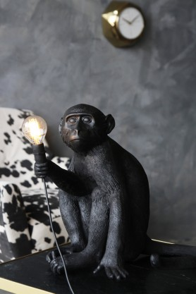 Sitting Monkey Table Lamp - Black - Suitable For Outdoors