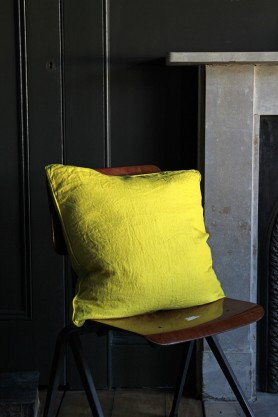 Lisbon Soft Linen Cushion - Acid Yellow