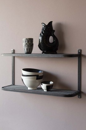 Industrial-Style Steel Double Wall Shelf