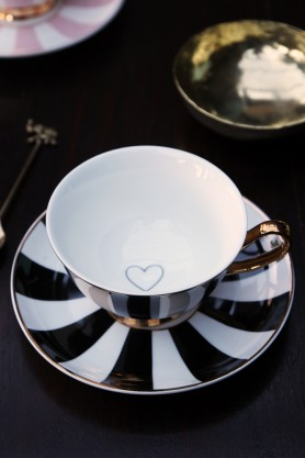 Stripy Teacup and Saucer Black/White