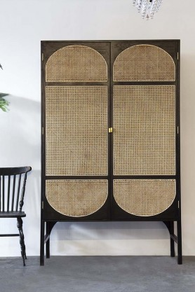 Sungkai Woven Cane Wooden Wardrobe