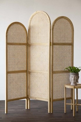 Sungkai Woven Cane Wooden Room Divider/Screen - Natural