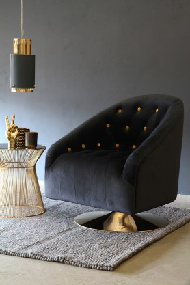 Gold Spot Black Velvet Swivel Tub Armchair