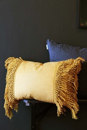 Tassel Cotton Cushion - Mustard