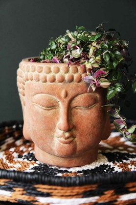 Terracotta Distressed Stone Effect Buddha Planter