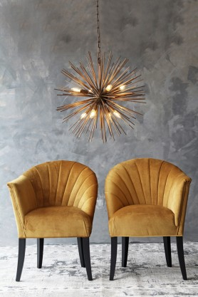 The Lovers Velvet Chair - Golden Glow