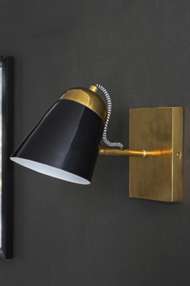The Mortimore Wall Light - Antique Brass & Gloss Black