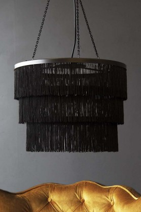 Three-Tier Fringe Chandelier - Black