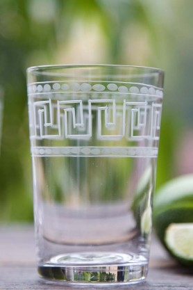 Set Of 6 Vintage Style Crystal Tumblers - Greek Key