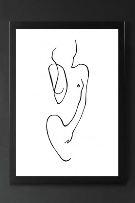 Unframed Abstract Standing Lady Sketch Drawing Art Print - Femininity