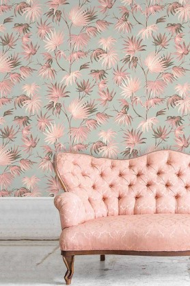 Lifestyle image of the Va Va Frome Blush Eau De Nil Wallpaper by Pearl Lowe