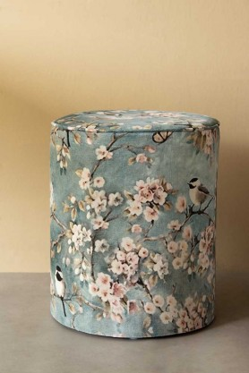 Lifestyle image of the Blue Velvet Cherry Blossom Pouffe Foot Stool