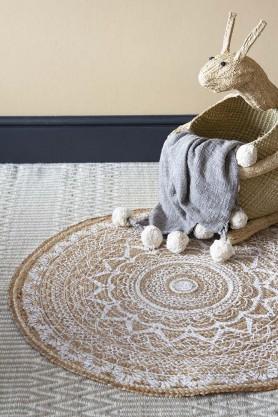 White Mandala Pattern Natural Jute Circular Rug