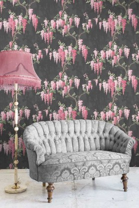 Lifestyle image of the Wisteria Noir Black Wallpaper by Pearl Lowe