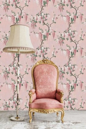 Lifestyle image of the Wisteria Pink Bloom Wallpaper by Pearl Lowe
